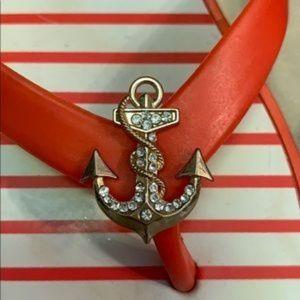 Striped flip flops w/ gold anchors XL
